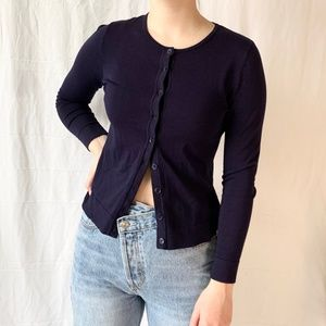 August Silk Button Up Cardigan Navy Petite Small